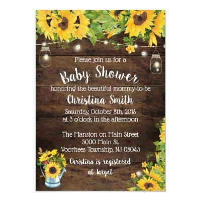 Sunflower Baby Shower Invitation - Country Rustic
