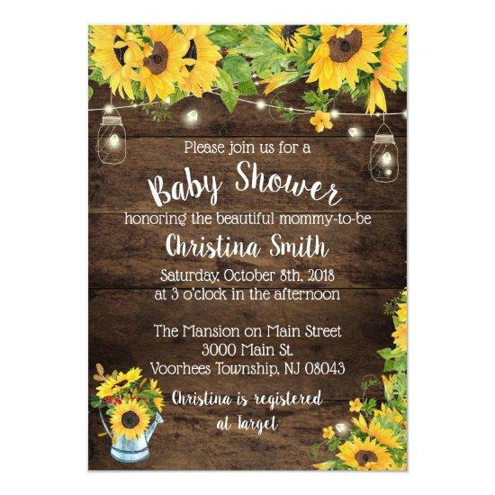Sunflower Baby Shower Invitations Country Rustic Baby Shower