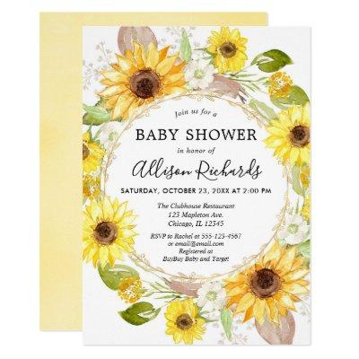 Watercolor Sunflower Baby Shower Invitations Baby Shower Invitations
