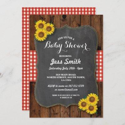 BABY SPRINKLE Invitation Pink BURLAP Chalkboard Gingham Baby Shower Country Western Couples Shower invitations