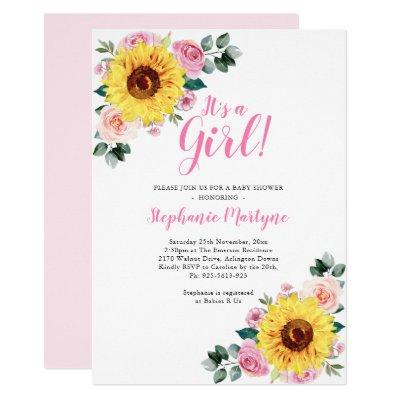 Sunflower Baby Shower It's A Girl Pink Invitation