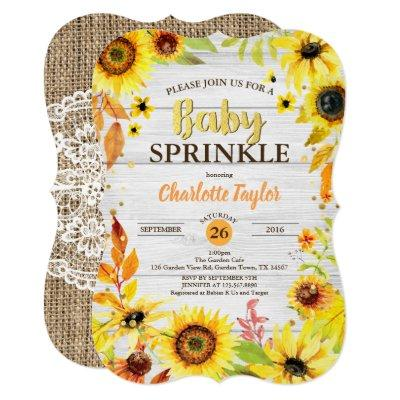 Sunflower baby sprinkle Invitations rustic wood