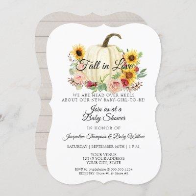 Sunflower Blush Pink Floral Pumpkin Baby Girl Invitation