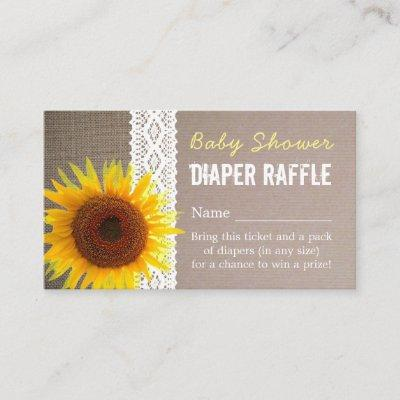 Sunflower Burlap & Lace Baby Diaper Raffle Ticket Enclosure Invitations