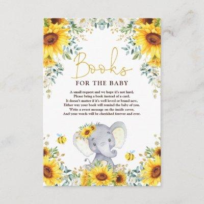 Sunflower Elephant Baby Shower Books for Baby Enclosure Card