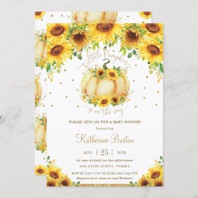 Sunflower Floral Little Pumpkin Baby Shower Girl Invitation