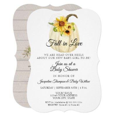 Sunflower Floral Watercolor Pumpkin Baby Shower Invitation