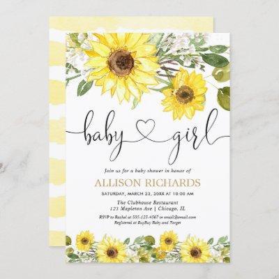 Sunflower greenery white yellow girl baby shower invitation