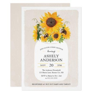 Sunflower Mason Jar Baby Shower Invitation