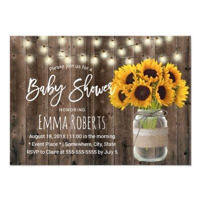 Sunflower Mason Jar Rustic Wood Baby Shower Invitation