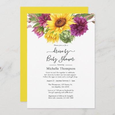 Sunflower Summer Drive By Bridal or Baby Shower Invitation