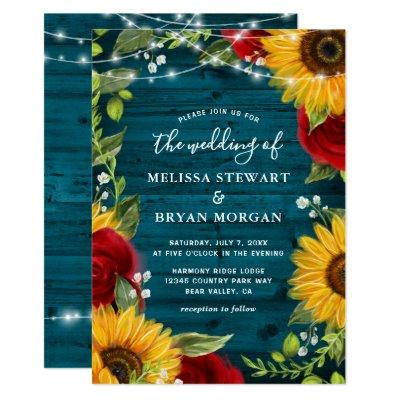 Sunflower Teal Burgundy Rose Rustic Wood Wedding Invitation