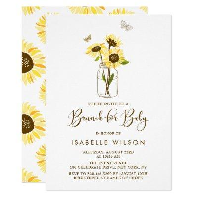 Sunflowers on Mason Jar Summer Baby Shower Brunch Invitations