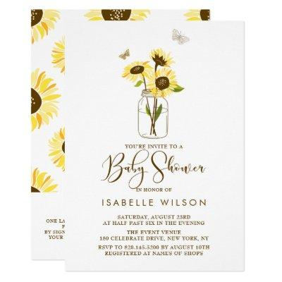 Sunflowers on Mason Jar Summer Baby Shower II Invitations