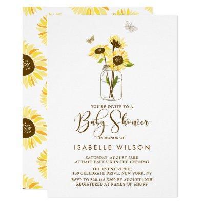 Sunflower baby shower baby shower invitations baby shower invitations sunflowers on mason jar summer baby shower invite filmwisefo