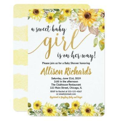 Sunflowers yellow baby shower invitation for girl