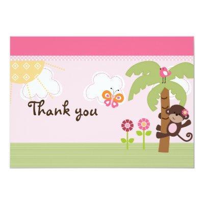 Sunny Safari Girl Monkey Baby Shower Thank You Invitations