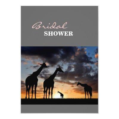 sunset safari wild animal giraffe silhouette Invitations