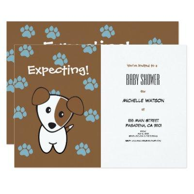 Super Cute Brown and Blue Terrier Baby Shower Invitations