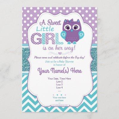 Super Cute Purple Teal Owl Invitation Baby Shower