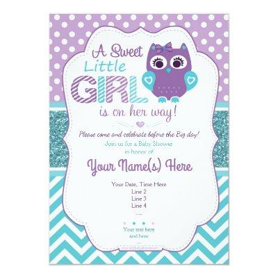 Super Cute Purple Teal Owl Invitations Baby Shower