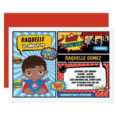 Superhero Baby Boy Shower / Comic Book Superheroes Invitation