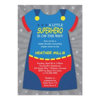 Superhero Baby Shower Invitations, Blue, Red Invitations