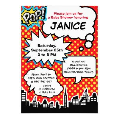 Superhero Baby Shower Party Invitations