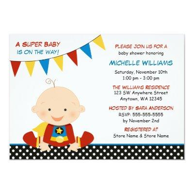 Superhero Bunting Baby Shower Invitations