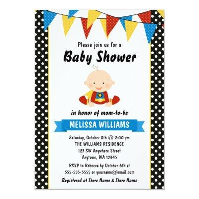 Superhero Polka Dot Bunting Baby Shower Invitations
