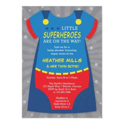 Superheroes Baby Shower Invitations, Blue, Red Invitations