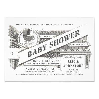 Supreme Vintage Baby Shower Invitations V2