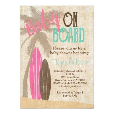 Surf Baby Shower Invitation Vintage Style Girl