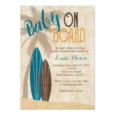 Surf Baby Shower Invitations with Surfboards