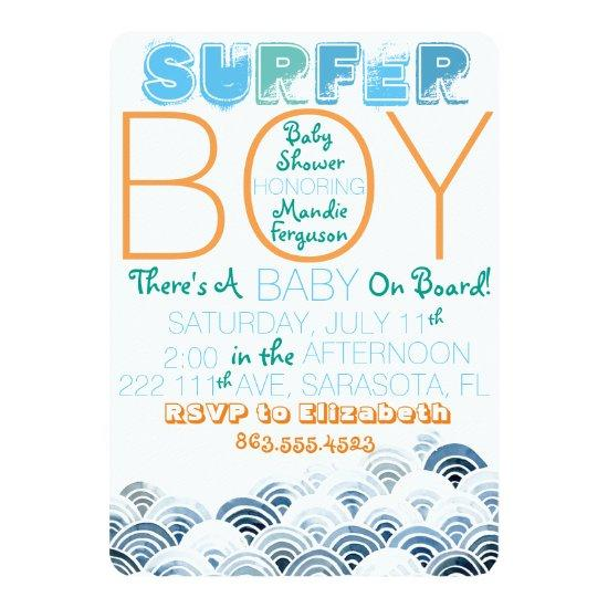 Surfer Boy Baby Shower Invitation