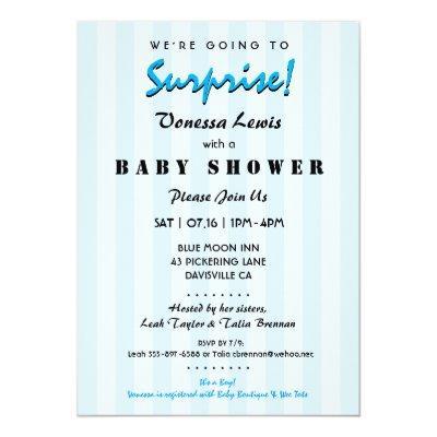 Surprise Baby Shower Blue Stripes Invitation