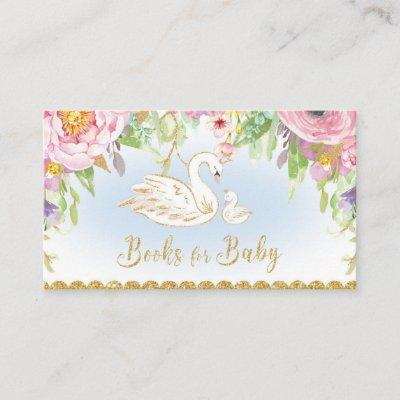 Swan Baby Shower Bring a Book for Baby Enclosure Card
