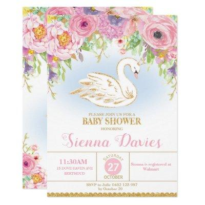 Swan Princess Baby Shower Invitation Floral Girl