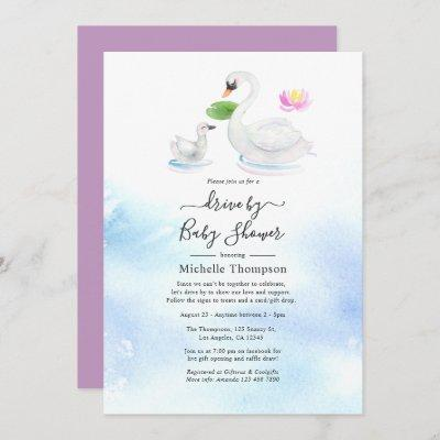Swan Watercolor Drive By Bridal or Baby Shower Invitation