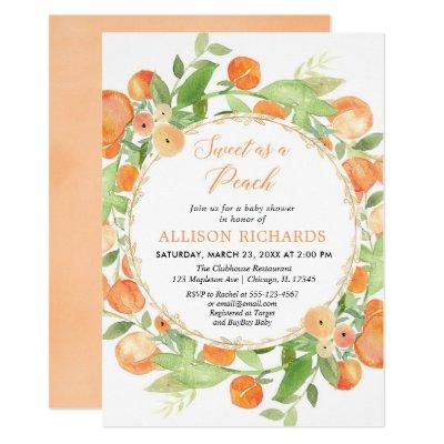 Sweet as a peach girl baby shower invitation