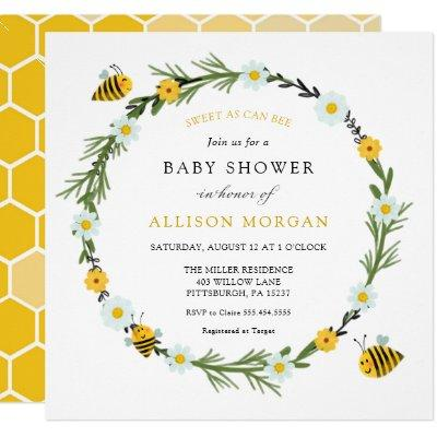 Sweet As Can Bee Baby Shower Invitation