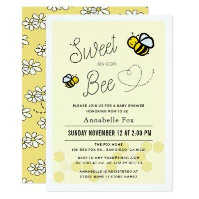 Sweet as can Bee Light Yellow Baby Shower Invitation