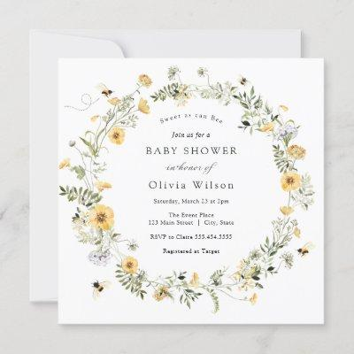 Sweet as can Bee Wildflower Baby Shower Invitation