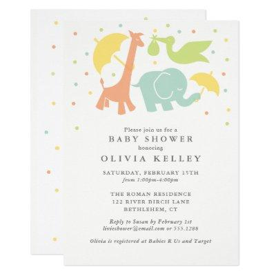 Sweet Baby Animal Baby Shower, Neutral Invitations
