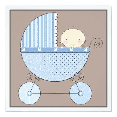 Sweet Baby Boy in Carriage Baby Shower Invitation