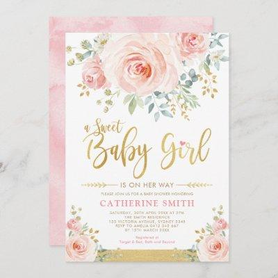 Sweet Baby Girl Blush Pink Gold Floral Baby Shower Invitation