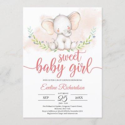 Sweet baby girl elephant and greenery baby shower invitation