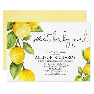 Sweet baby girl lemon watercolor girl baby shower invitation