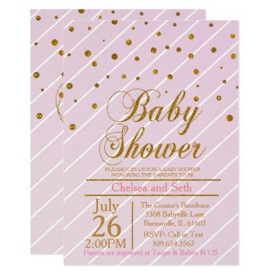 Sweet Baby Girl Pink & Gold Confetti | Baby Shower Invitation