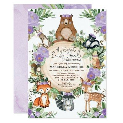Sweet Baby Girl Purple Floral Woodland Shower Invitation